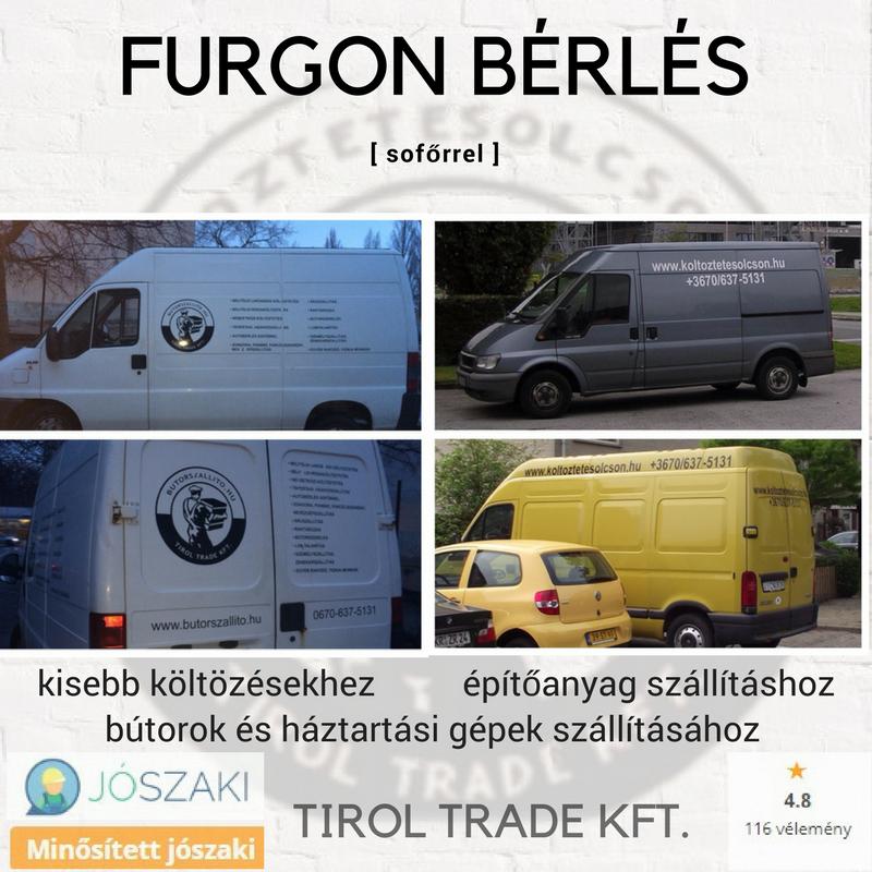 TEHERAUTÓ BÉRLÉS SOFŐRREL, FURGONOK